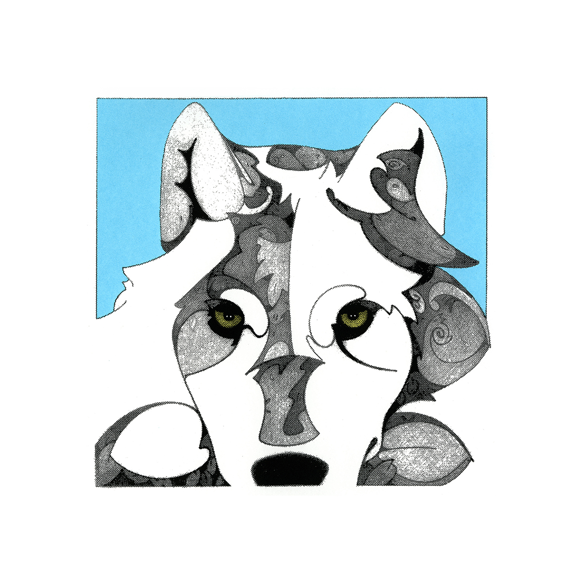 Morning Star (wolf) , serigraphic print, copyrighted by Kathleen Zimmerman