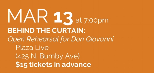 You're invited into the actual space where Stage Director Robert Neu and Conductor Elaine Rinaldi will be working with the cast of Don Giovanni. It is a rare opportunity to view how an opera production is put together. And with the re-setting of this great work in the year 2017, this portal into the creative process promises to be all the more fascinating. Tickets $15 in advance ( info@operaorlando.org  ; 407-512-1900) Tickets available  HERE