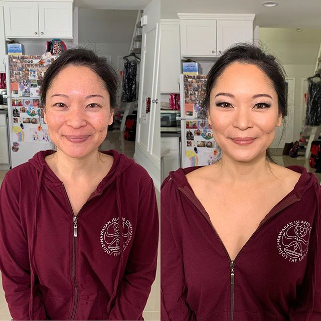 Finally got to glam up my sister in law Darbi! So much fun playing with glittery ✨ 👀 and some fun lashes #beforeandafter #asianmakeup