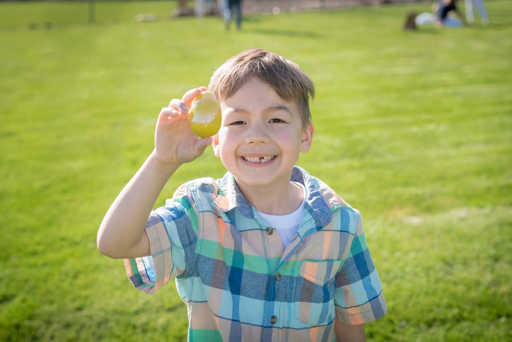 Decker thought he had found the golden egg because he found a yellow egg. Hence, the big smile.