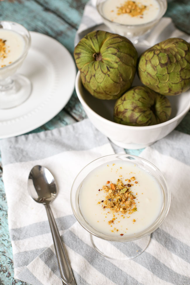 Cherimoya Pudding with Toasted Pistachios