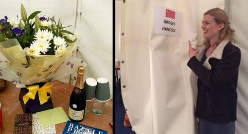 My dressing room and some lovely gifts from the team at JSL Productions