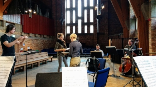 Final rehearsals in the Chapel of Keele University