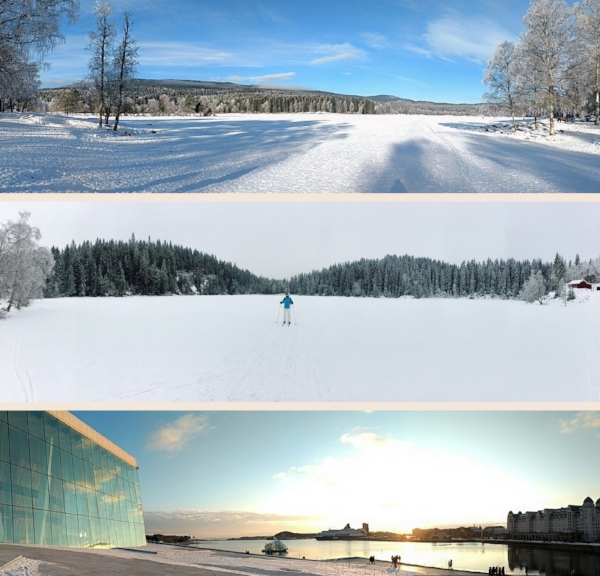 Sognsvann Lake, Cross-Country Skiing and Oslo Opera House/Fjord