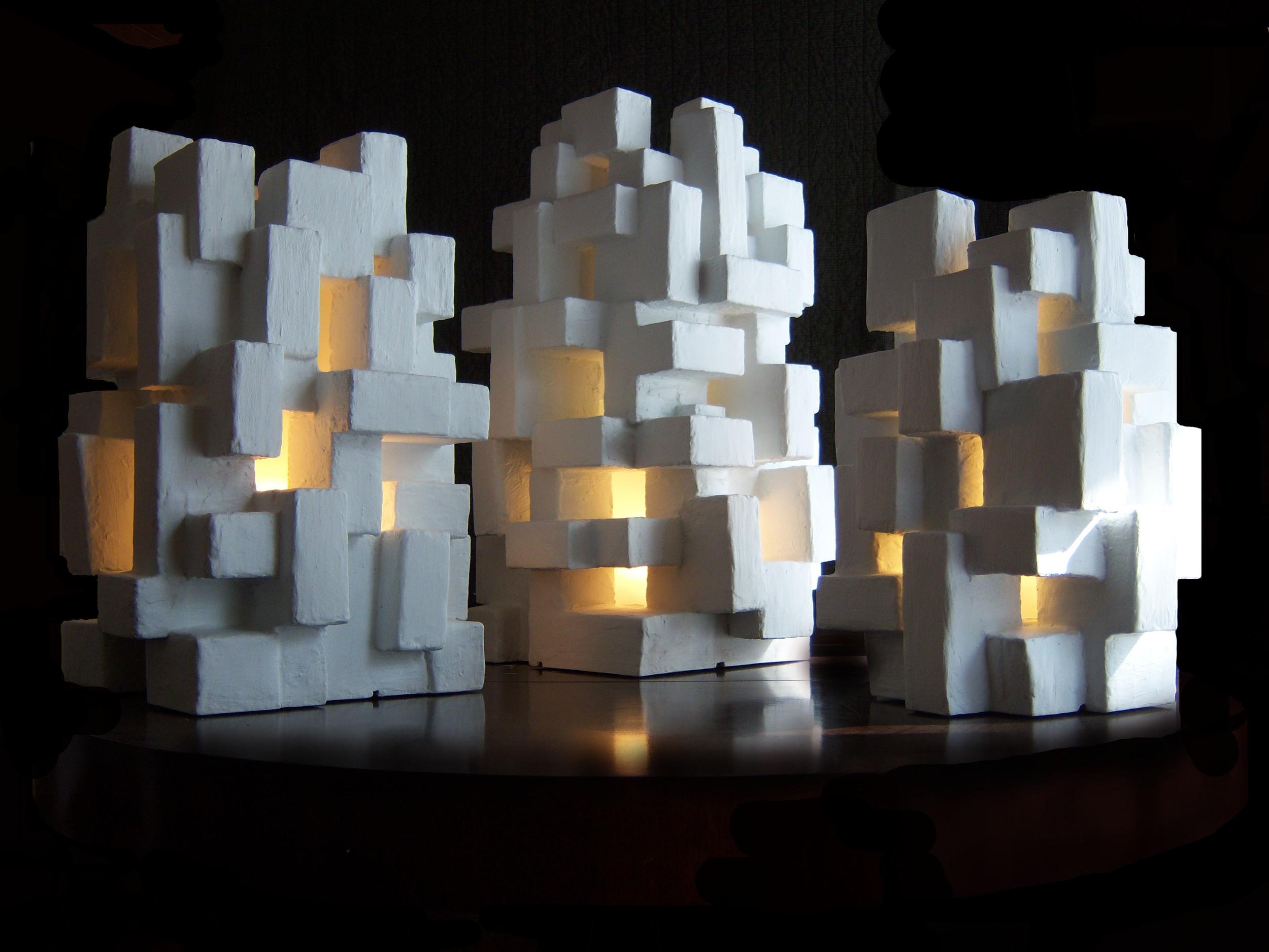 GOTHAM LIGHT SCULPTURES, Mixed Media, sizes vary, 2012