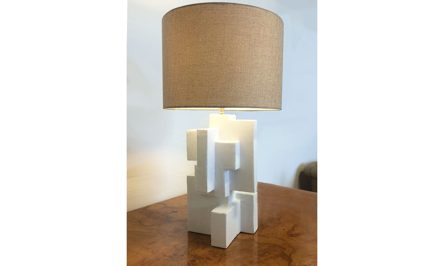 "ABITARE TABLE LAMP I, mixed media, 18"" x 12"" x 12"", 2015"