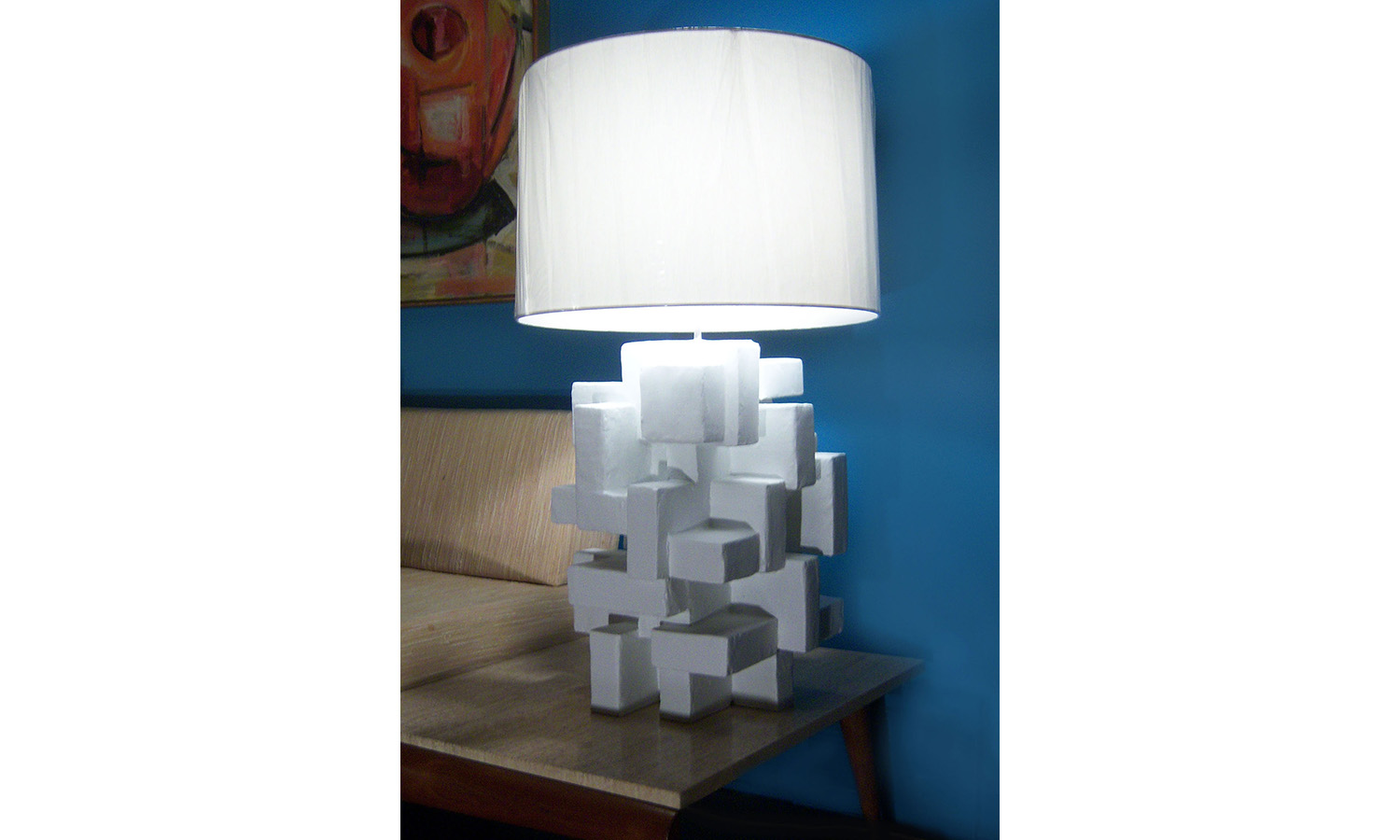 "ABITARE TABLE LAMP III, mixed media, 20"" x 13"" x 13"", 2013"