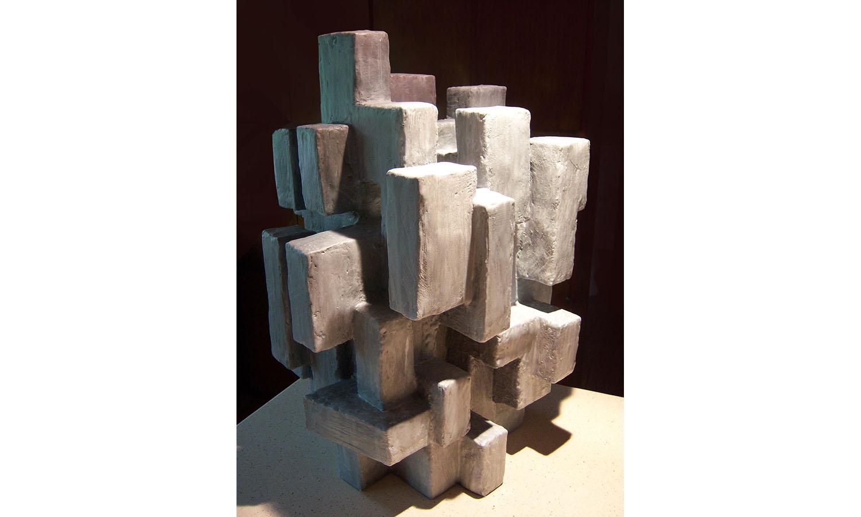"""BABEL I, mixed media, 23"""" x 18"""" x 17"""", 2012"""