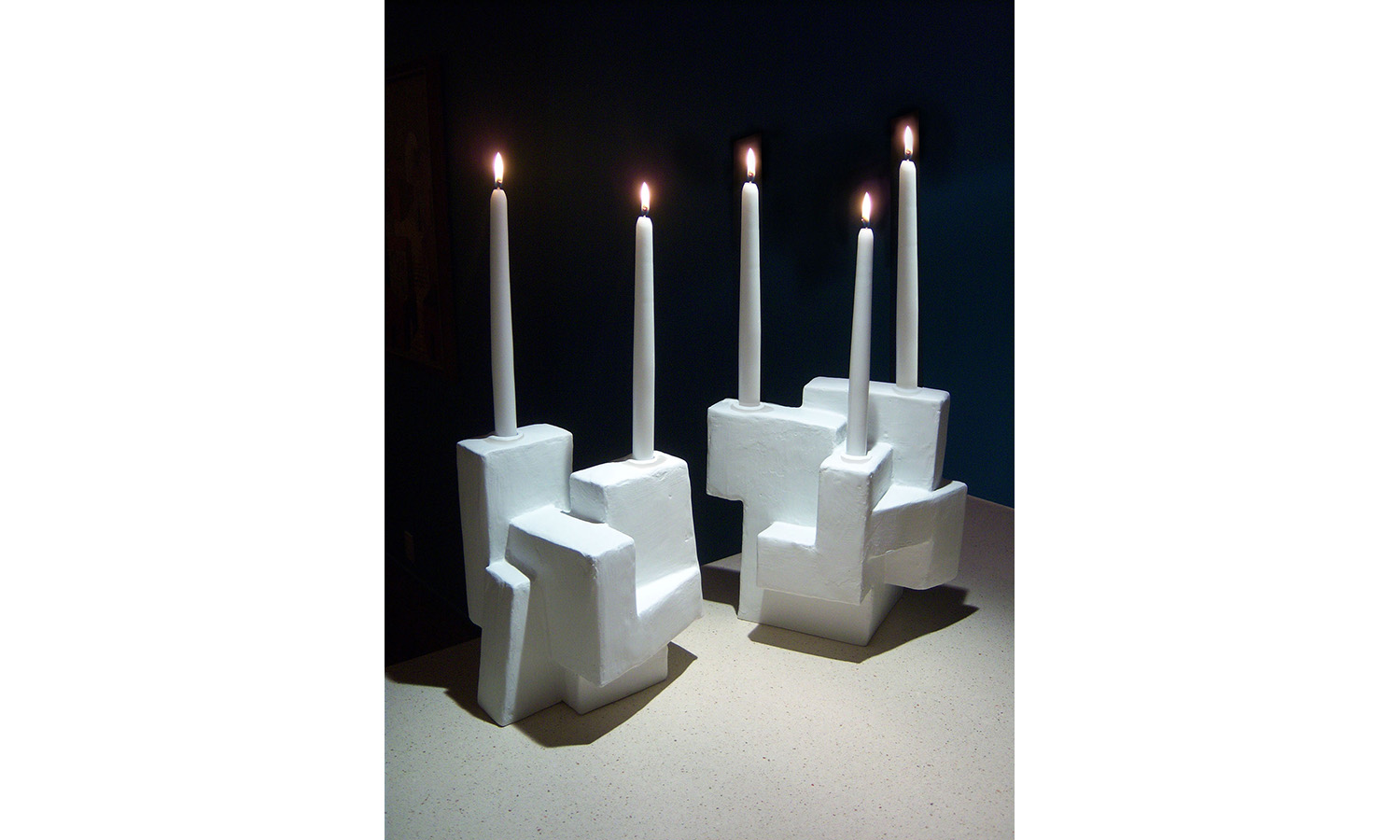 "CANDLE HOLDERS, mixed media, 7"" x 9"" x 10"" each, 2012"