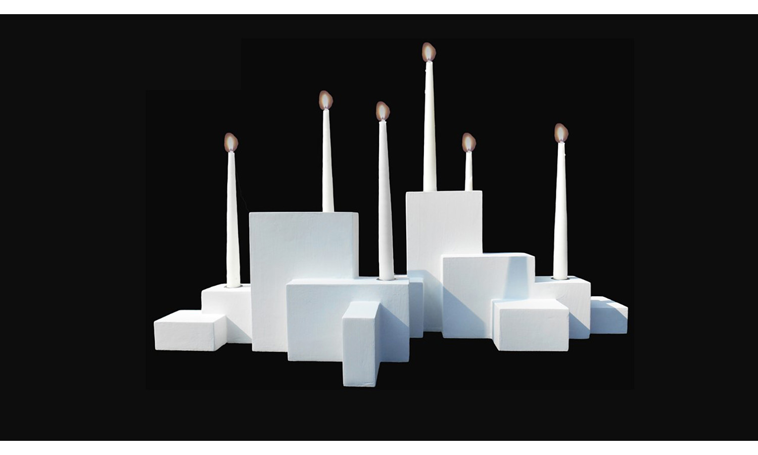 CANDLE HOLDERS (group of three shown), mixed media, sizes vary, 2017