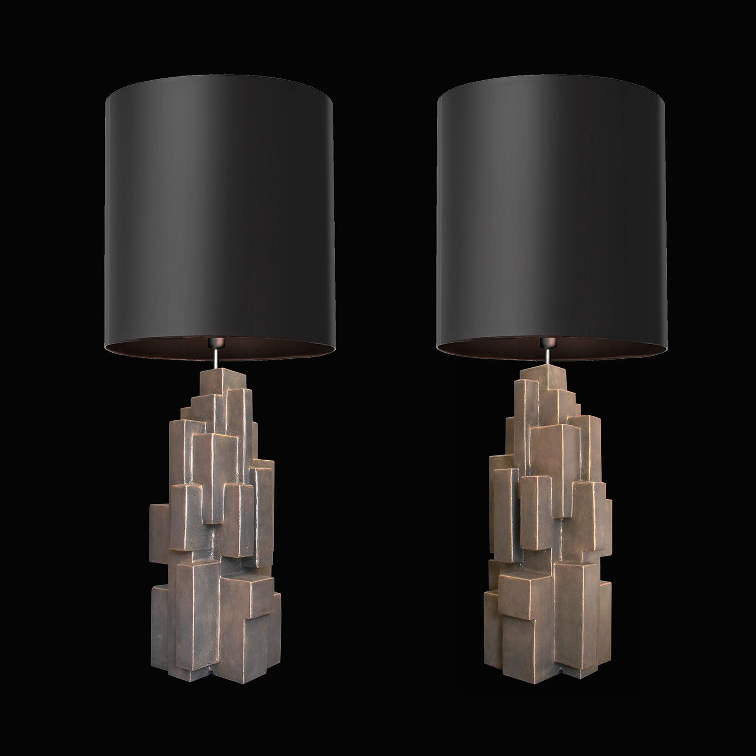 "GEO TABLE LAMPS, 21"" tall, 2019"