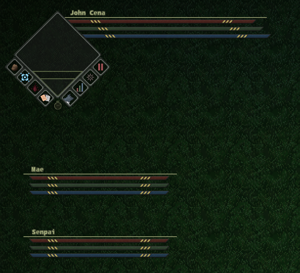 Buttons  (left to right): Inventory, Spellbook, Souls, Rumors, Calendar, Companions, Skills, Settings, Pause