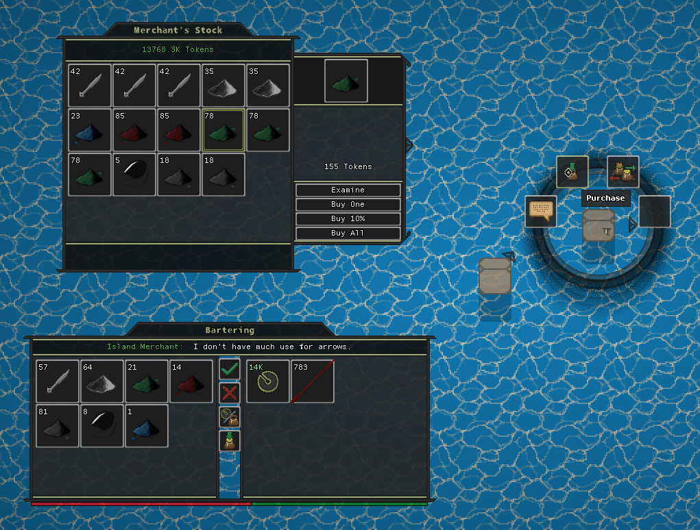 Bartering (bottom left),Purchasing (top left), and Character UI (right). Ignore how we are standing on water.