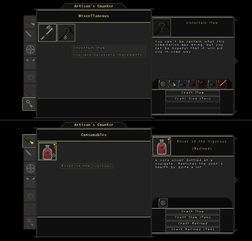 Uncertain recipe (top),  refined recipe  (bottom)