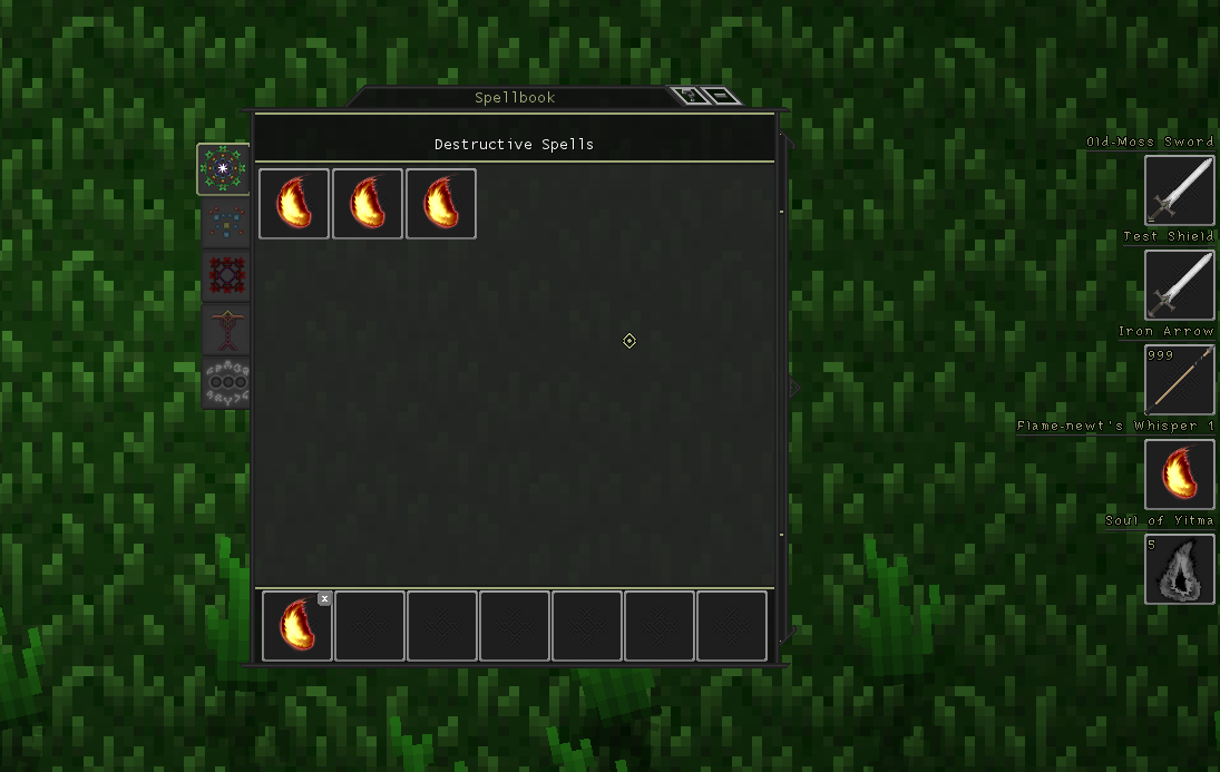 The Spellbook UI (left)with the equipment HUD (right)
