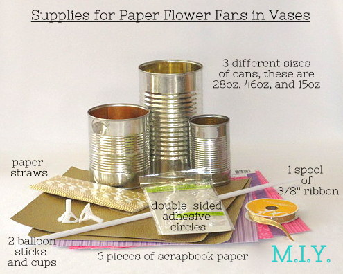 Supplies for Paper Flower Fans in Vases