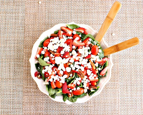 Strawberry and Goat Cheese Spinach Salad with Lightly Toasted Pecans -MIY with Melissa
