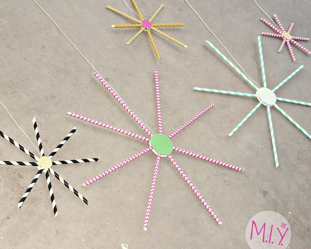 Quick and Easy Paper Straw Fireworks Decoration -MIY with Melissa