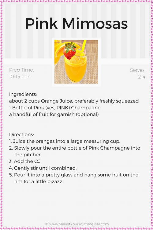 Delicious, 2 Ingredient Pink Mimosas -MIY with Melissa