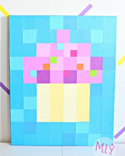 DIY Pixelated Block Art Tutorial-MIY with Melissa