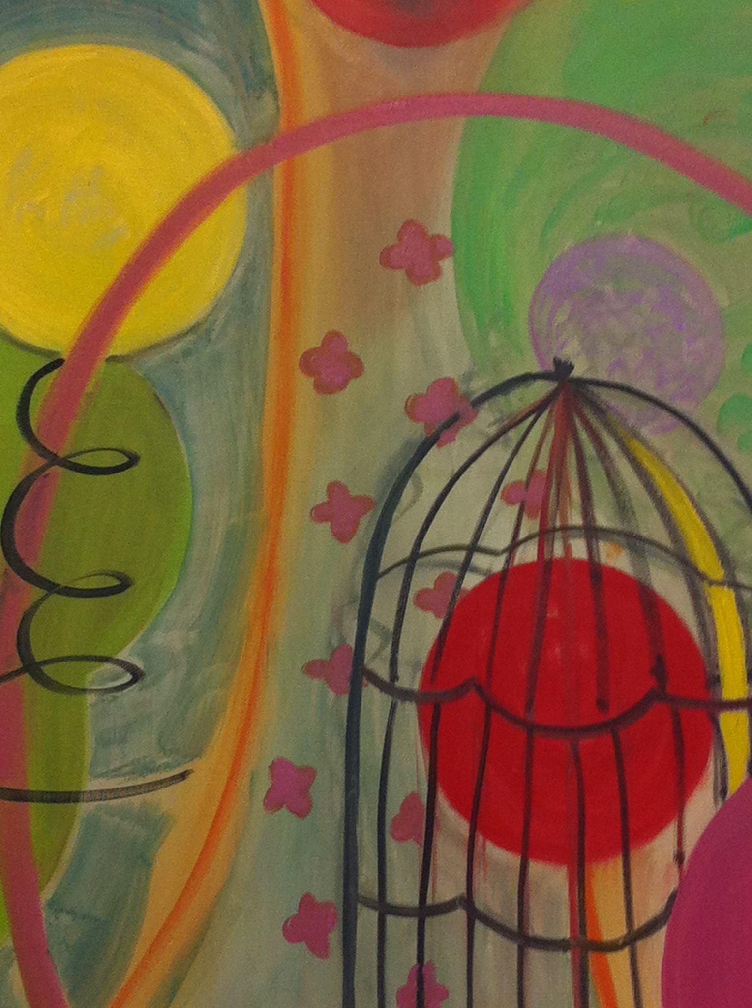 "Bird Cage Paradise, 30"" x 24"", Oil on Canvas"