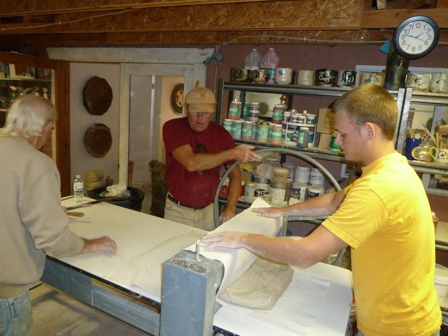 Larry Meagher and I rolling out slabs