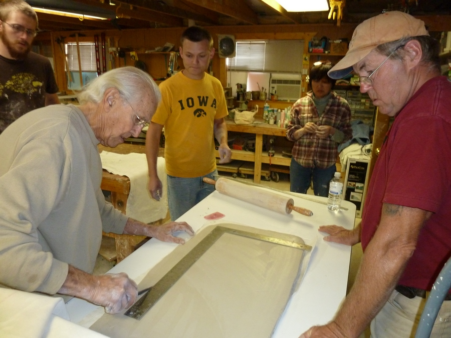 Don Reitz cutting slab for Triptych