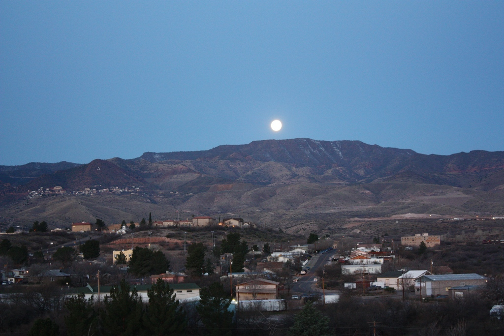 Moon over Clarkdale and Jerome