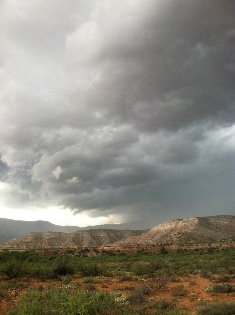 Storm moving over Mingus Mountain
