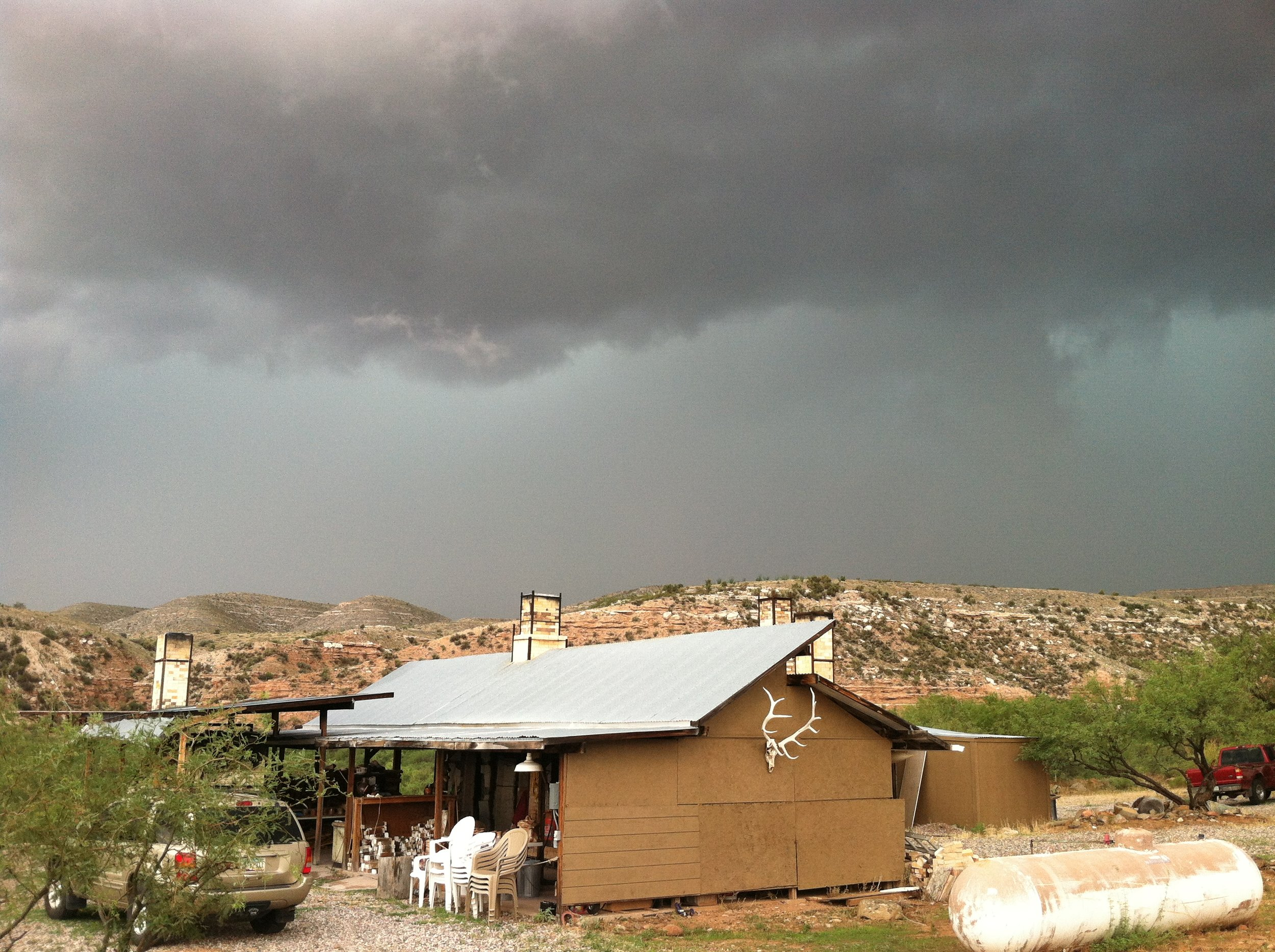 Monsoons on the horizon of the kiln-yard, July 2012