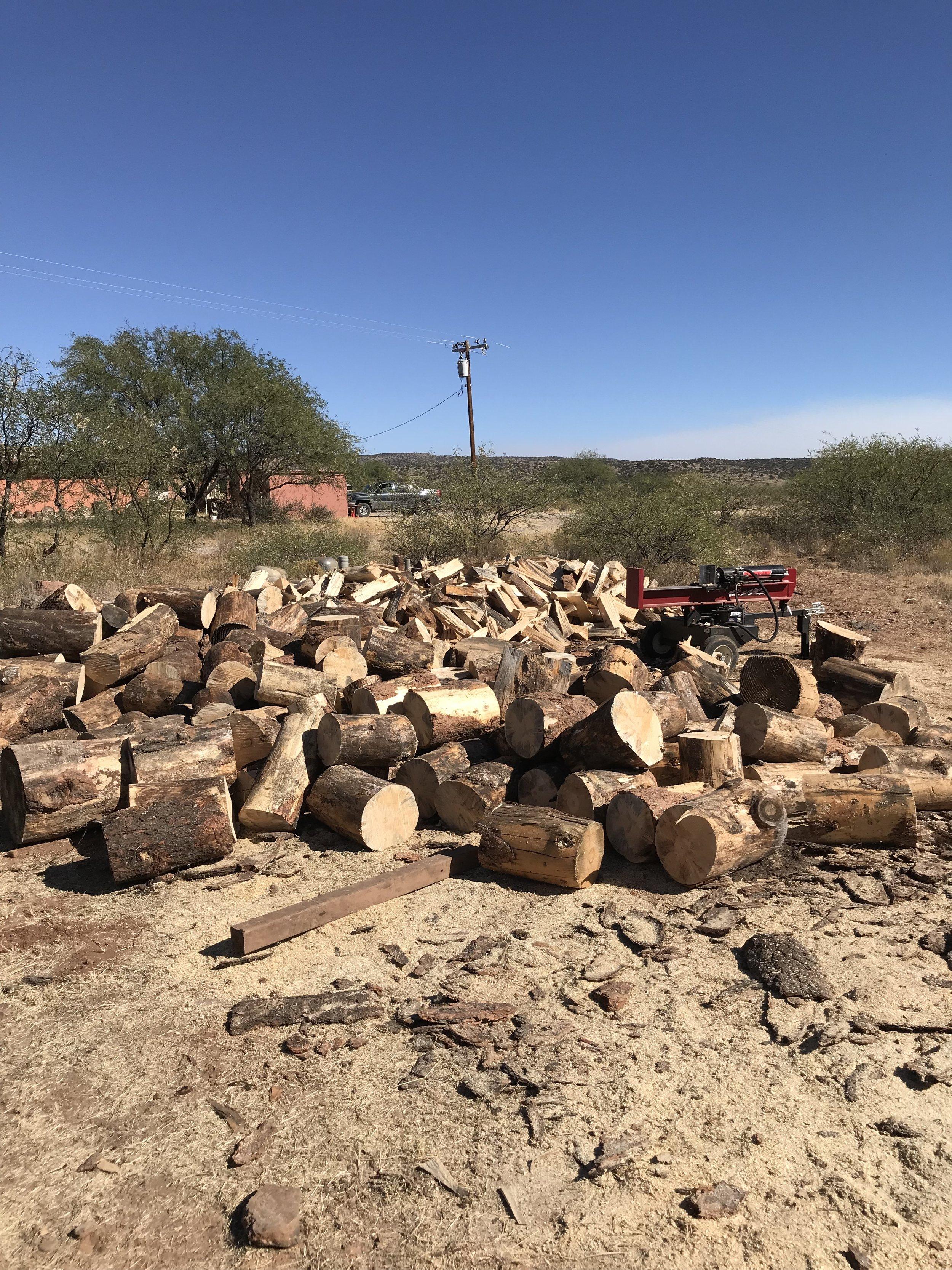 Woodpile waiting to be split