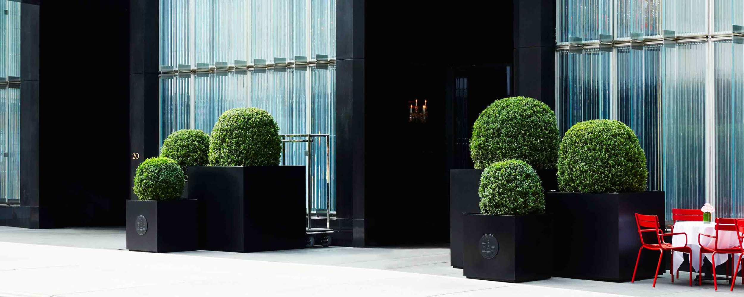 Baccarat Hotel NYC Harrison Green The Standard Planter Matte Black Powder Coated Aluminum