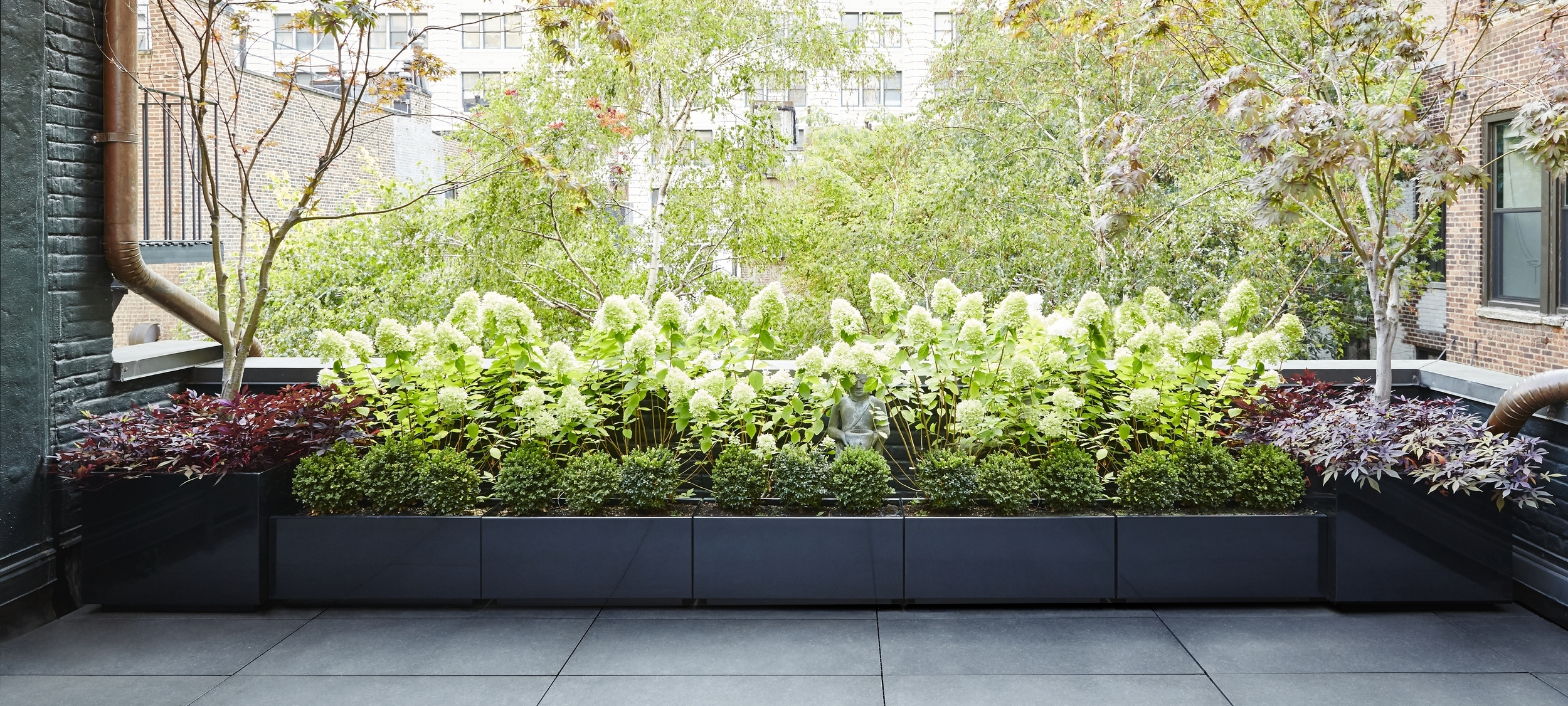 Gramercy Park Terrace Empire Planter Black Powder Coated Aluminum
