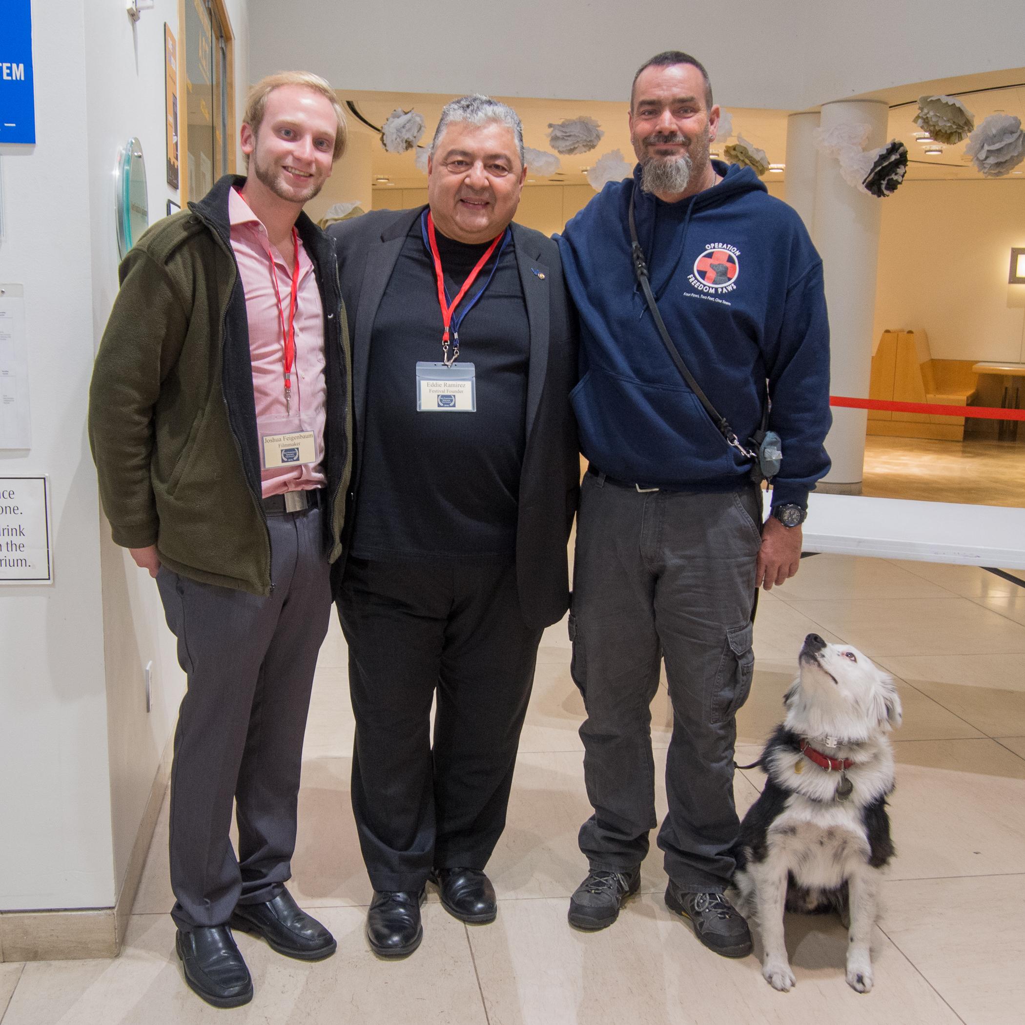 Filmmaker Joshua Feigenbaum, Founder Eduardo Eddie Ramirez, veteran Dave Jennelle