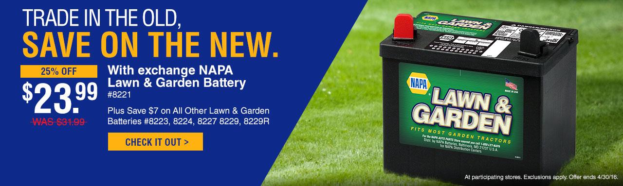 NAPA Lawn and Garden Batteries — Treadaway's Auto Supply