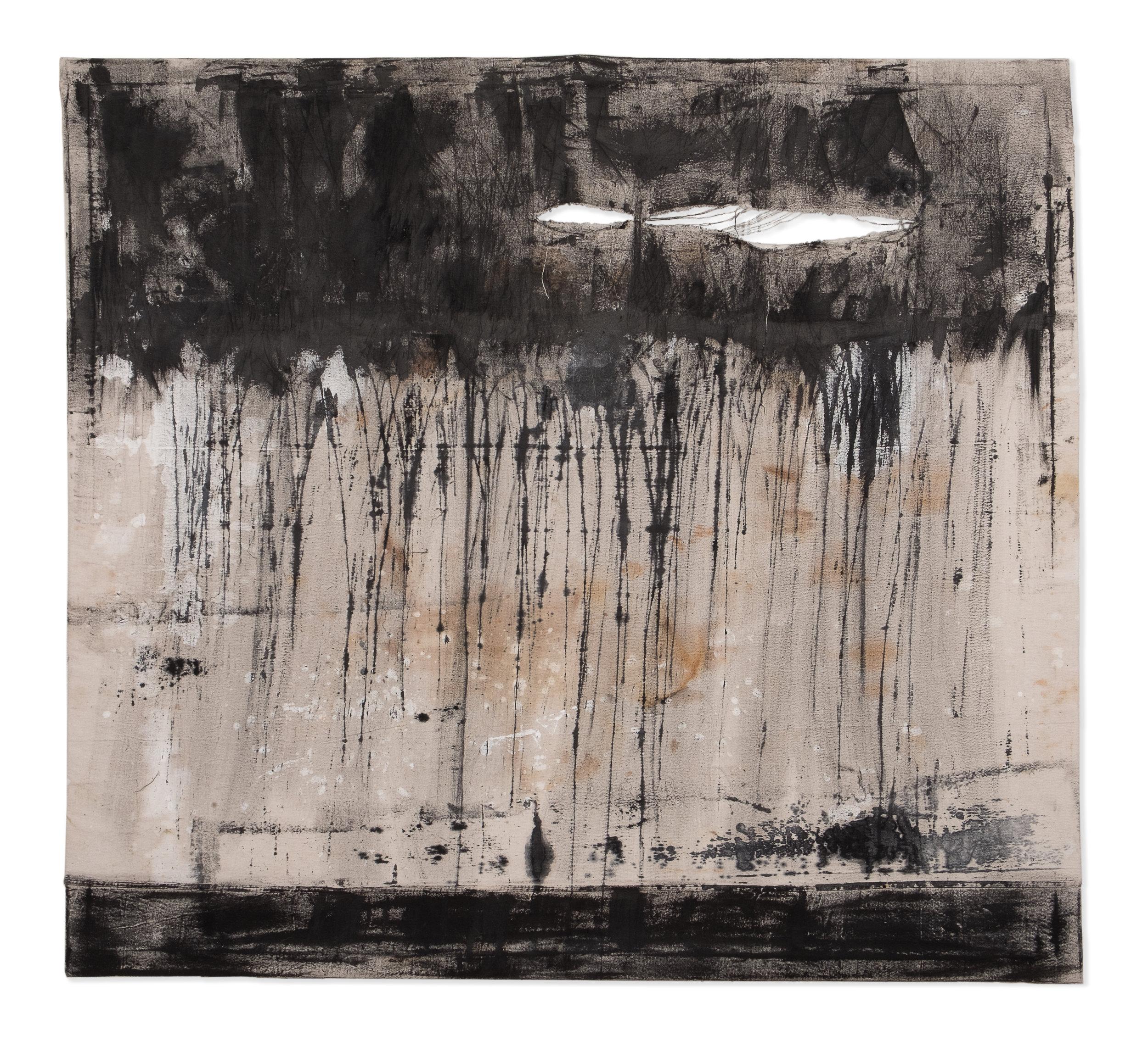 "58""x53"" ink, rust dye, oil on canvas."