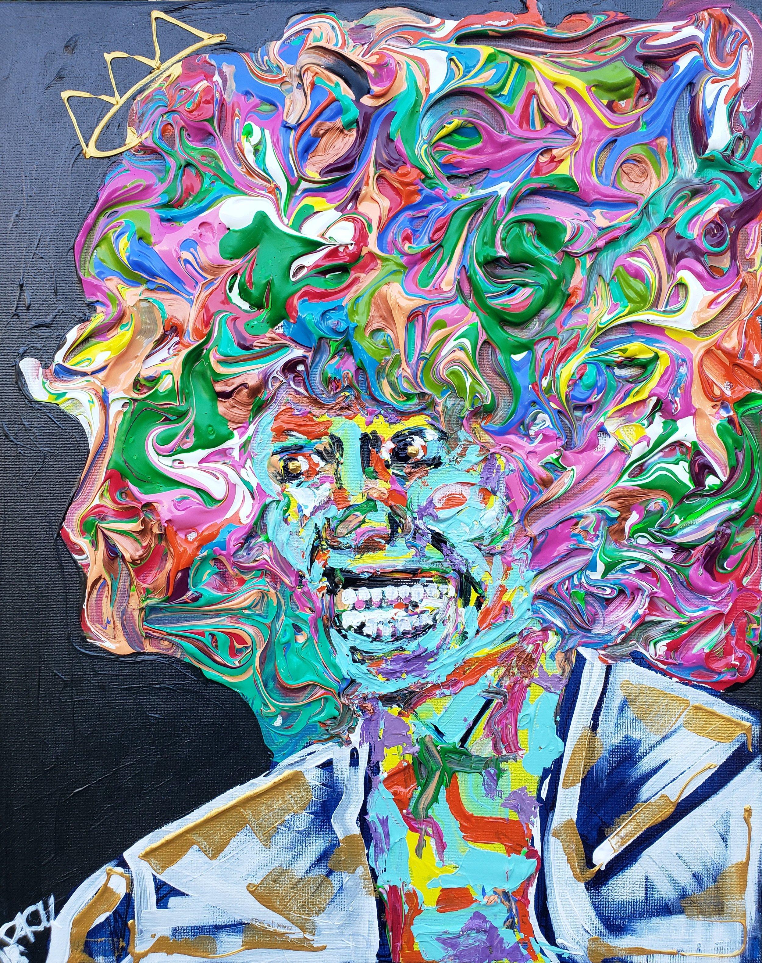 Whitney Houston / 24 x 18 / Acrylic / Spray Paint / Marker / 2018.