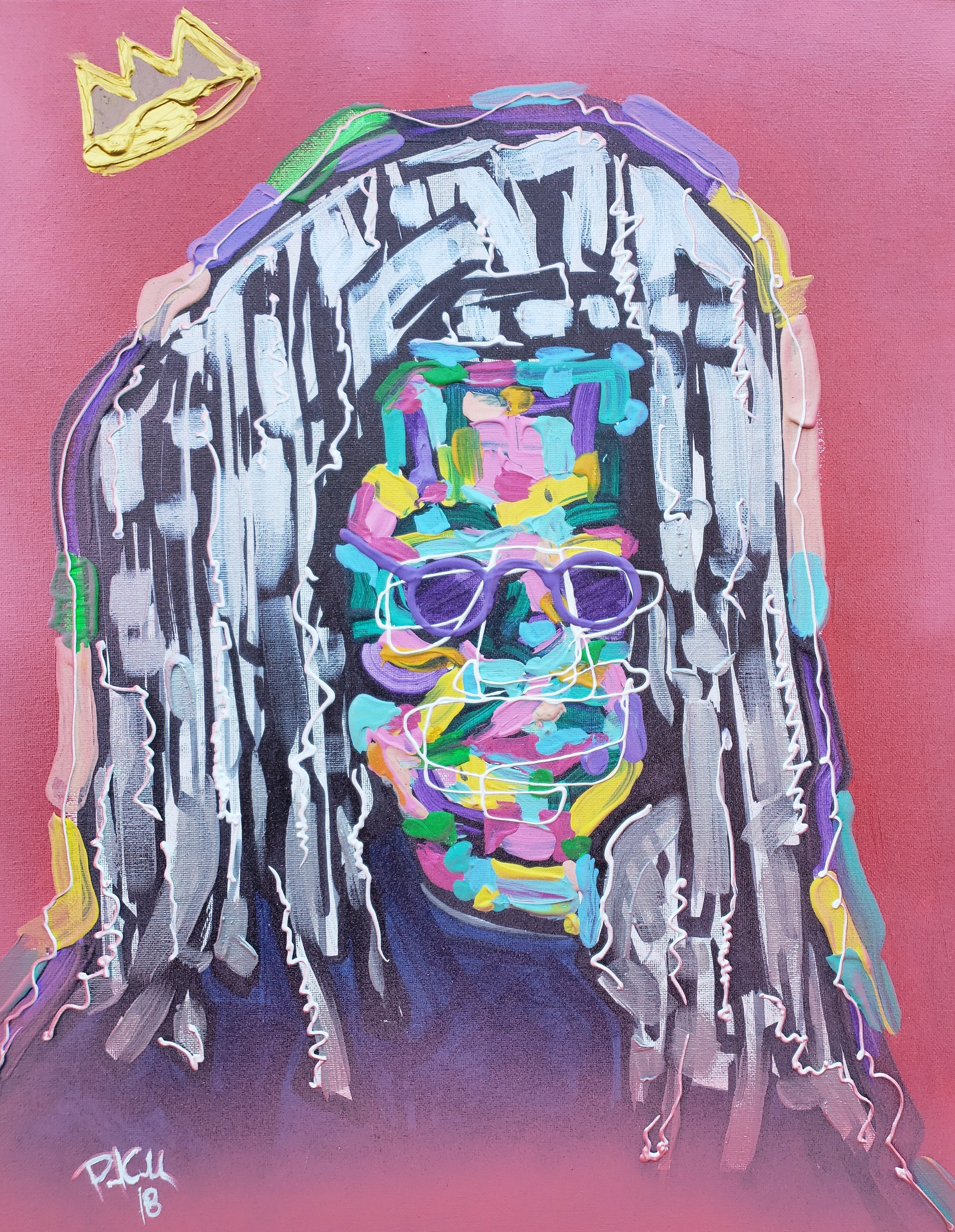 Whoopi / 24 x 18 / Acrylic / Spray Paint / Marker / 2018.