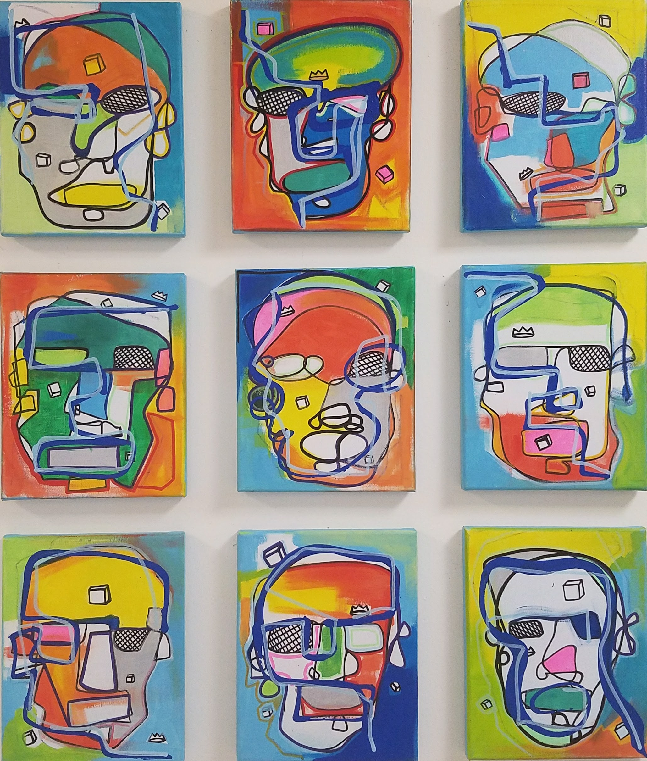 Many Mini Faces / 9 - 10 x 8 piece set / Collaboration with Jennifer Friedland / 2016 / SOLD