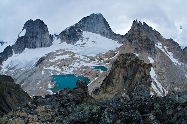 Kain Hut surrounded by granite spires and glaciers