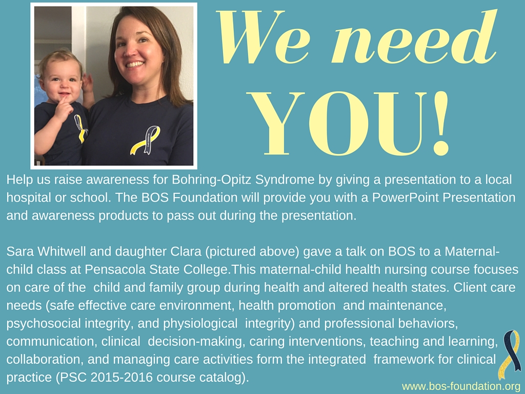 Please email the BOS Foundation at  bohringopitz@gmail.com  if you would like to give a speech on BOS!