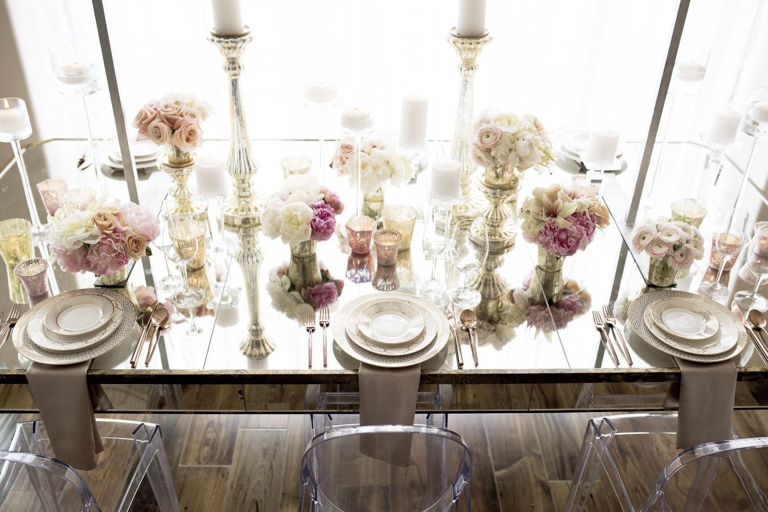 THE SCENE  Styling and Design by:  FUSE Weddings & Events  Photography by:  Elisha Braithwaite  Rentals provided by:  Decoration Inc.  China, Glassware, and Flatware by:  Diamond Rental   Linens by:  Creative Coverings   Flowers by:  Decoration Inc.  Venue:  The Tasting Room