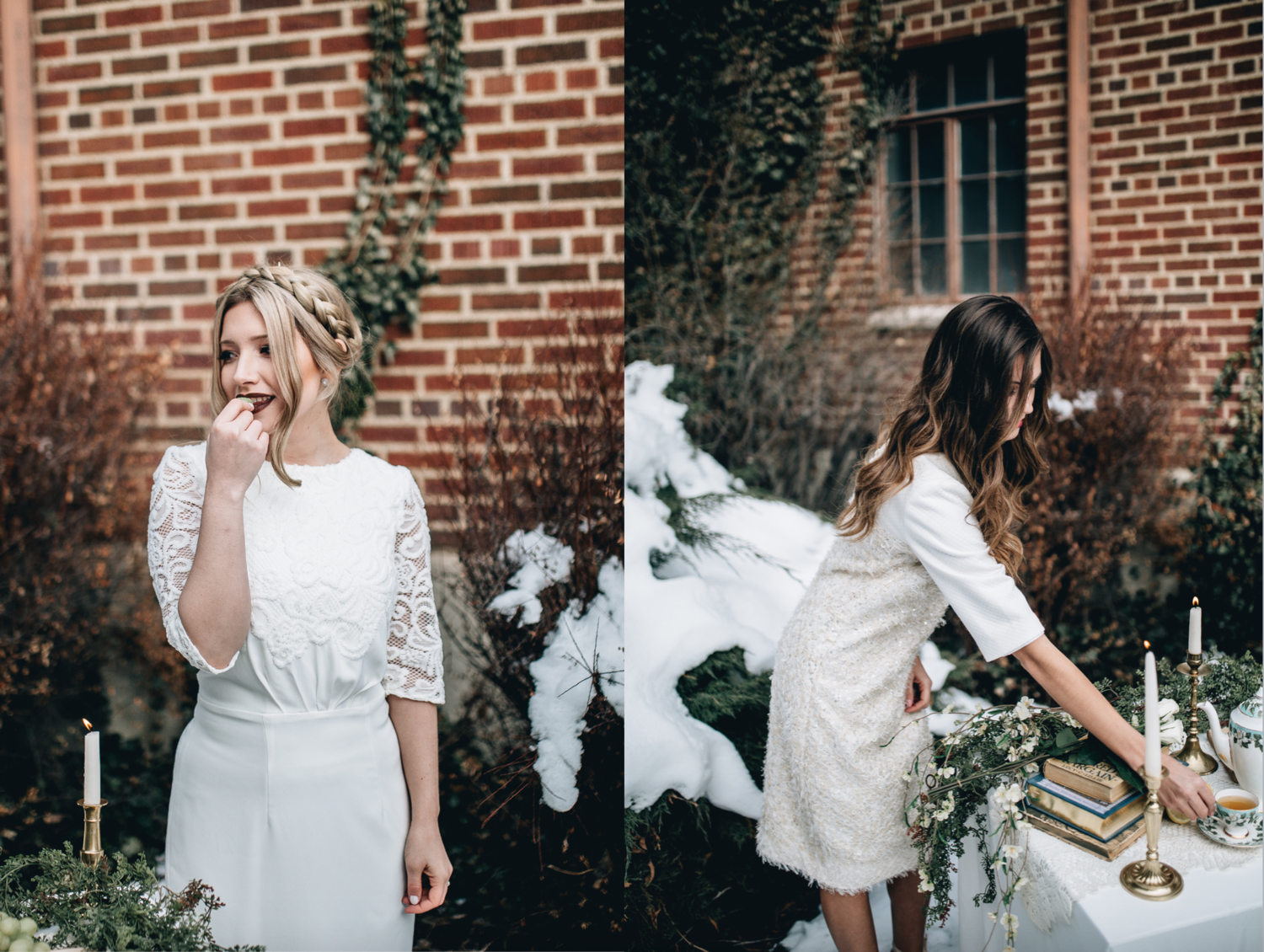 DETAILS  Styling by: Lucy Bergstrom  Photography by: Alice Cannon  Dresses by: Aleksandra Salo  Flutter Sleeve Top by: Natalie Wynn  Lace Skirt by: Janay Marie  Makeup by: Rachel Kae Jenkins  Rentals provided by: Refined Vintage Events  Models: Joan Brown & Josilyn Harsh