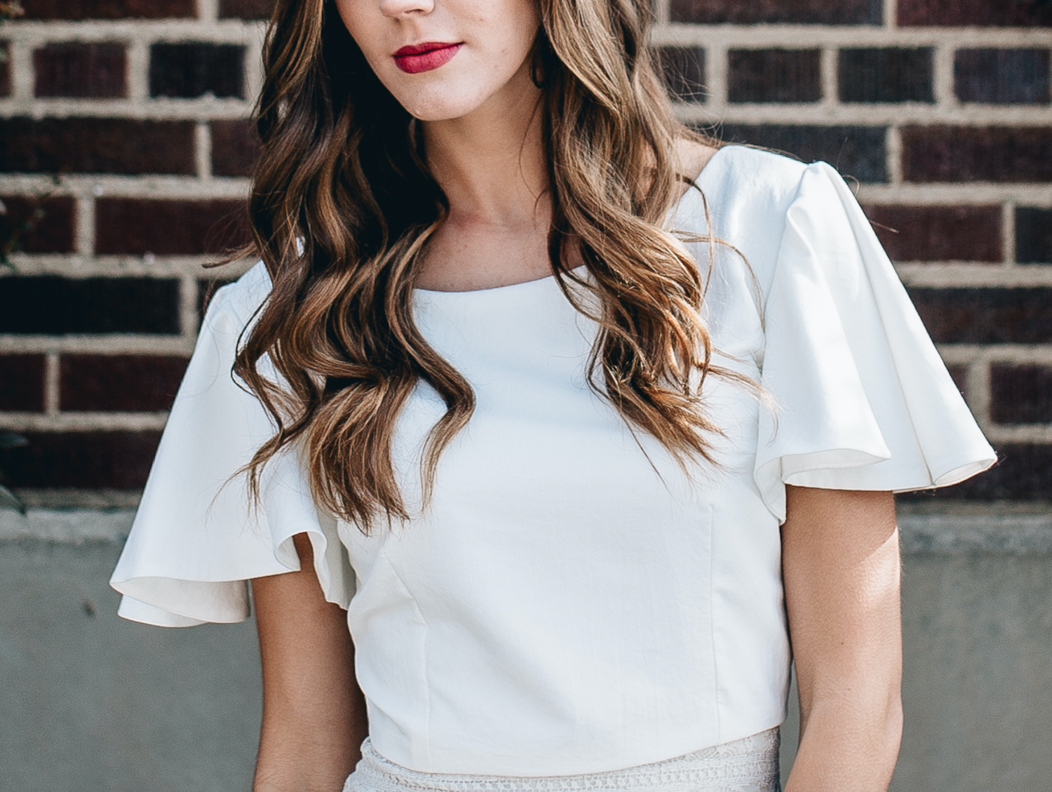 DETAILS  Styling by: Lucy Bergstrom  Photography by: Alice Cannon  Flutter Sleeve Top by: Natalie Wynn  Makeup by: Rachel Kae Jenkins  Rentals provided by: Refined Vintage Events  Model: Josilyn Harsh
