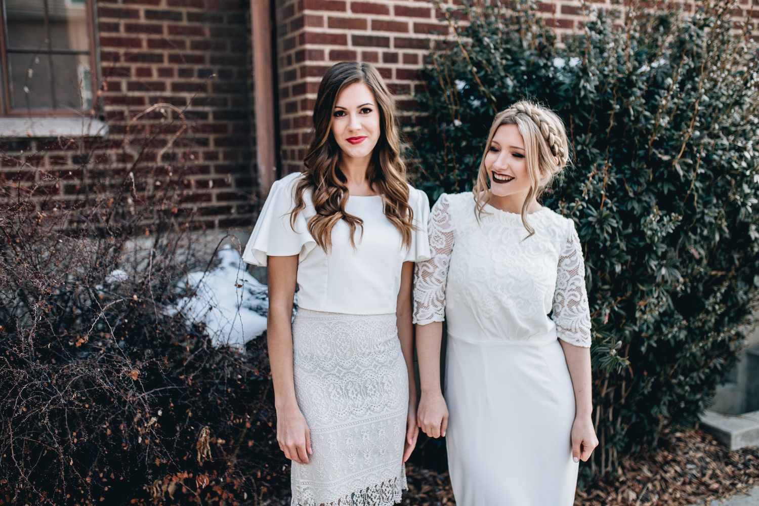 DETAILS  Styling by: Lucy Bergstrom  Photography by: Alice Cannon  Dress by: Aleksandra Salo  Flutter Sleeve Top by: Natalie Wynn  Lace Skirt by: Janay Marie  Makeup by: Rachel Kae Jenkins  Rentals provided by: Refined Vintage Events  Models: Joan Brown & Josilyn Harsh