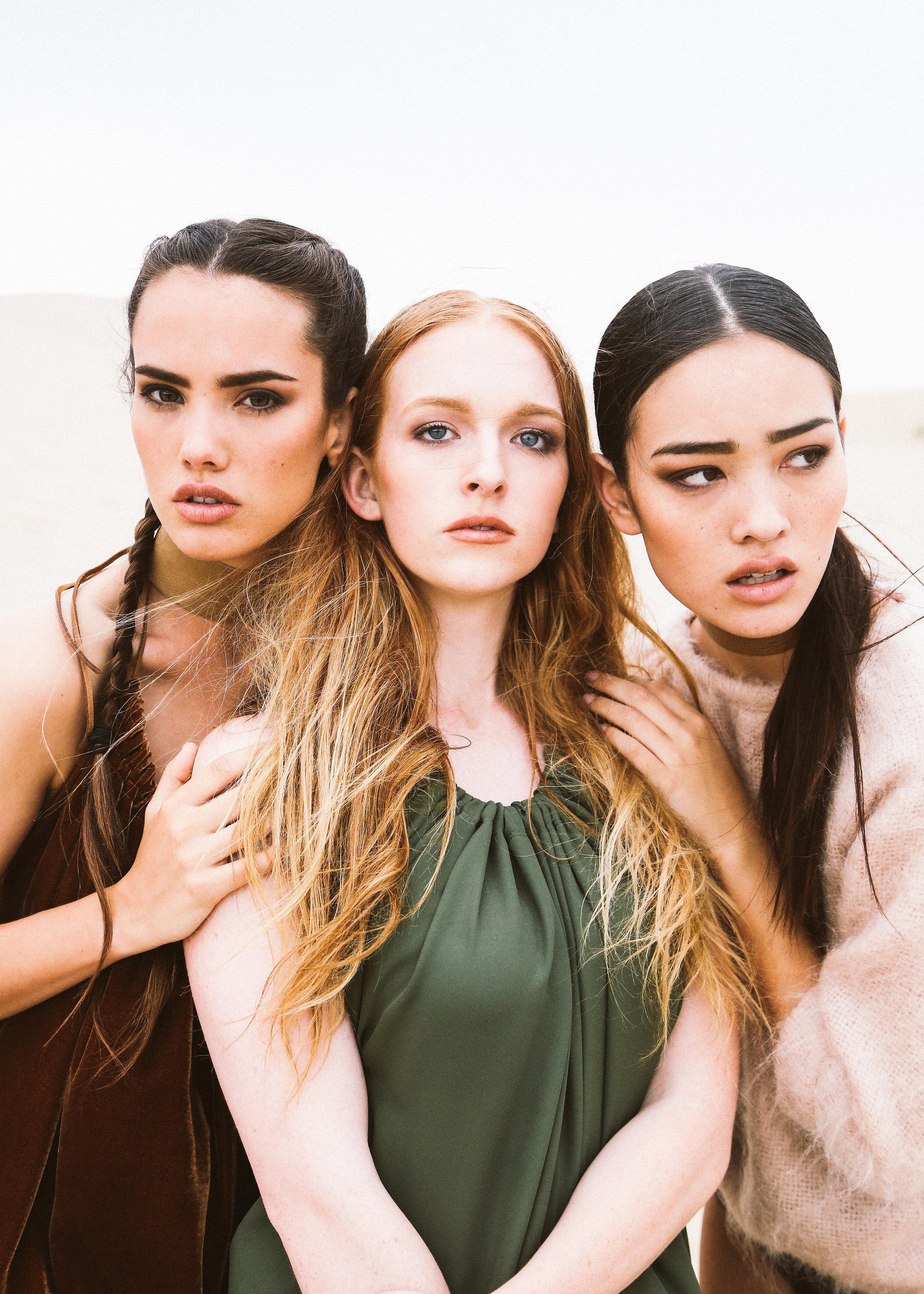 DETAILS  Photography: Evelyn Eslava  Makeup: Chelsea Vuksinick  Wardrobe: Melody Noy  Models (left to right): Tiffany Pliler ,Camille Nicole, Elizabeth Wood  Styling by: Megan Beckham