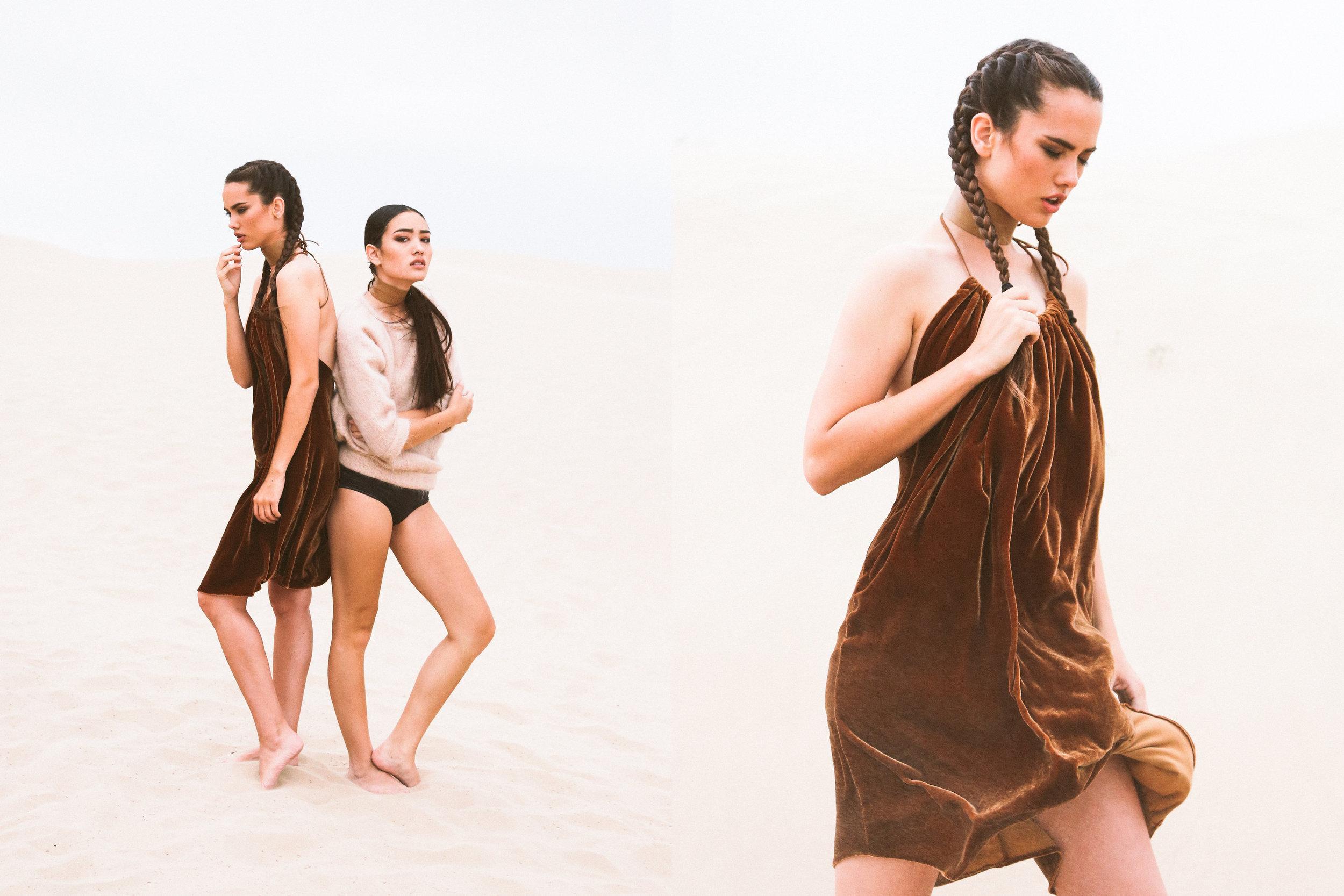 DETAILS  Photography: Evelyn Eslava  Makeup: Chelsea Vuksinick  Wardrobe: Melody Noy  Models (left to right): Tiffany Pliler , Elizabeth Wood  Styling by: Megan Beckham