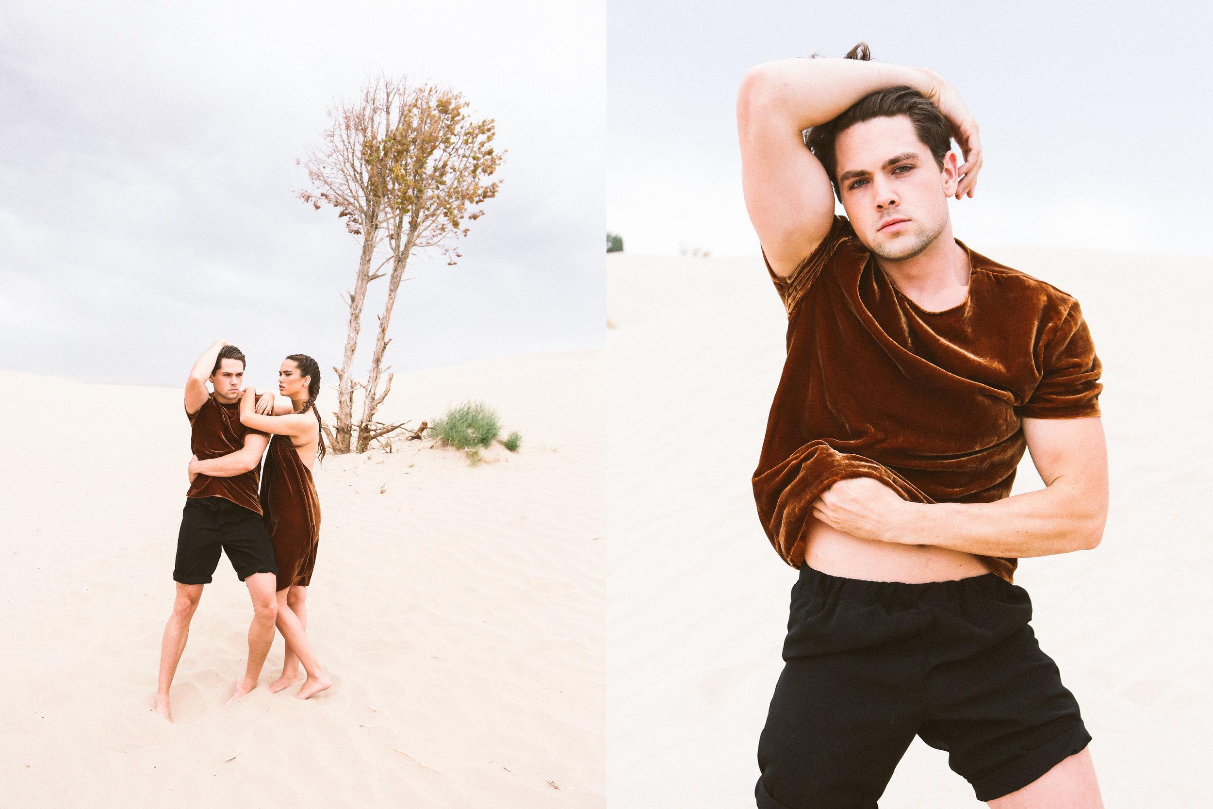 DETAILS  Photography: Evelyn Eslava  Makeup: Chelsea Vuksinick  Wardrobe: Melody Noy  Models (left to right): Dereck Richmond , Tiffany Pliler  Styling by: Megan Beckham