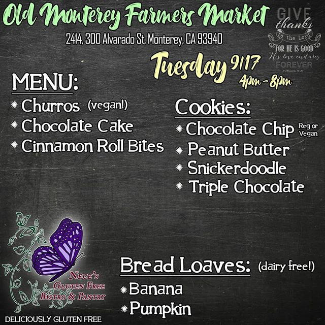 Our menu for the Monterey Market this upcoming Tuesday 9/17.💜 Back by popular demand is our Chocolate Cake, get it while it you can because it goes fast! 😋  Do you have a favorite item of ours you haven't seen in a while? 🤔  Let us know in the comments below and you just may see it sooner than you think. 😘