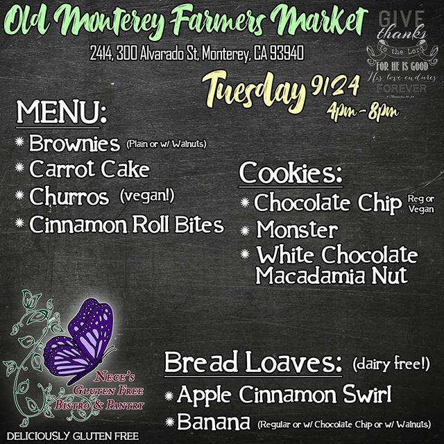 Our Menu for Tuesday's Monterey Farmer's Market! 🛍  We will have our Carrot Cake this week, It's a fan favorite so get it while you can! 😘  We will be setup from 4-8pm right next to @eclipse_creations!💜 Come grab your gluten free goodies and support your local vendors! 😁